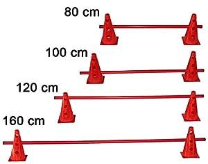 agility sport pour chiens - haie de coordination, 23 cm, jalon: 80 cm, rouge - 2x MZK23r 1x 80r