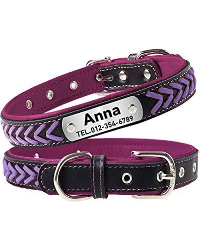 Taglory Personalisiertes Hundehalsband Leder, Hundehalsband mit Name für Mittelgroße Hunde, Violett