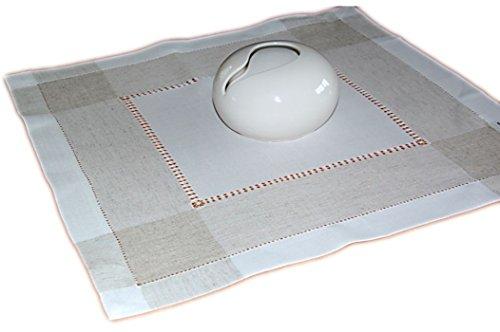 Klassische Tischdecke 60x60 cm Leinenoptik Hohlsaum Wollweiß Natur grau/Ecru Schlichte Eleganz (Mitteldecke 60x60 cm quadratisch)
