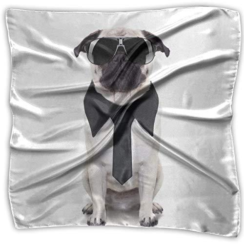 Unisex Bandana Head and Neck Tie Neckerchief Headdress Silk-Like,Cool Looking Dog Tie And Big Fancy Black Sunglasses Funny Canine Animal Comedy Image,Square Scarves Bandana Scarf