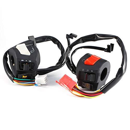 Qiilu Motorrad Lenkerschalter, 2x Universal 7/8 '' Motorrad Lenker Hupe Blinker Lichtschalter Motorradbeleuchtung Lenkerschalter