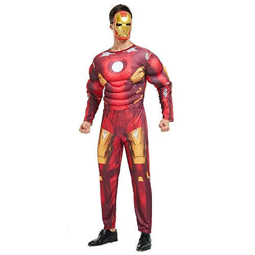 Farbe Kostüm Superman - Hcxbb-b Ausgefallene, Erwachsene Avengers Spider-Man Captain America Supermann Iron Man Optimus Prime Cosplay Muskel Kleidung Hulk (Farbe : Redironman, Size : OneSize)