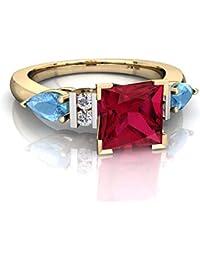 Gioielli Donna DiaStar Keepsake Nodo Celtico Anello 0.99carati Taglio Triangolare Ametista & CZ Diamond 14K Giallo Oro PL