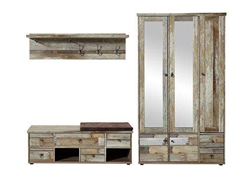 Stella Trading BZDD643081 Garderobenset, Holz, braun, 255 x 189 x 40 cm