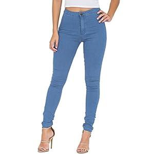 Jeans Damen, JYONE Skinny Jeans Denim High Waist Slim Leggings Röhrenjeans Bleistifthose Bleistift Hose, Black, XL