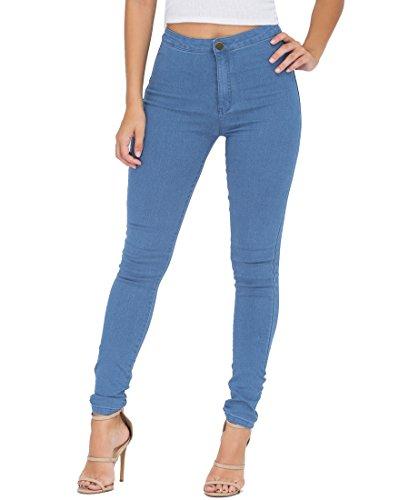 EASTDAMO Frauen-Ausdehnung-hohe Taille dünne Jeggings dünne Jeans, Light Blue, Gr. XS