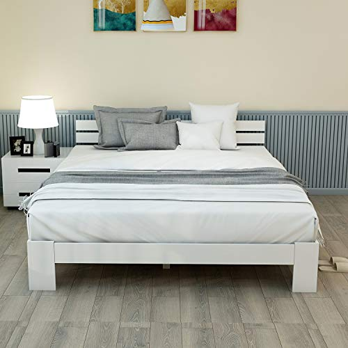 ModernLuxe Massivholzbett Doppelbett mit Kopfteil und Lattenrost,140 x 200 cm Holzbett,FSC Massiv Doppelbett als Ehebett verwendbar, als Seniorenbett geeignet, Komfortbett mit Rückenlehne (Weiß) -