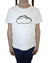 Nube Blanco Algodón Niña Niños Camiseta Manga Corta Cuello Redondo Mangas White Girls Kids T-shirt