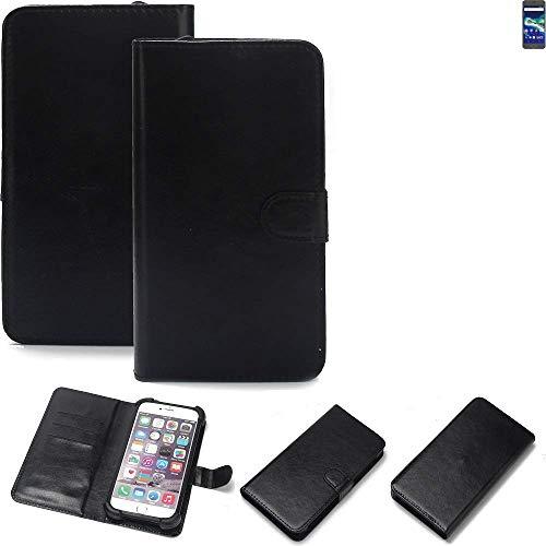 K-S-Trade® Wallet Case Handyhülle Für General Mobile GM 6 Schutz Hülle Smartphone Flip Cover Flipstyle Tasche Schutzhülle Flipcover Slim Bumper Schwarz, 1x