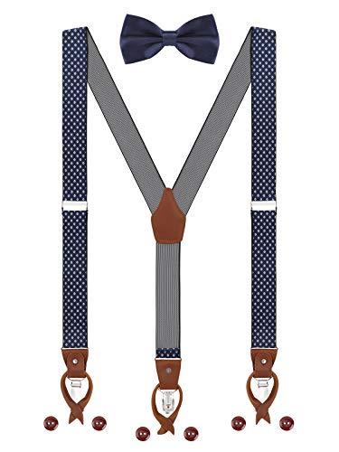 Herren Hosenträger Fliege Set 2 WAY TO WEAR 6 Leder Knopfloch 3 Clips Y-Form 3,5cm Breit Verlängerte Hosenträger für Körpergröße 160-200cm - Dunkelblau Weiß Kariert Camouflage-fliege
