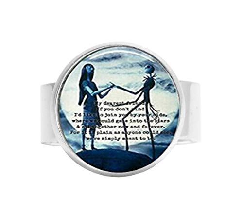 qws The Nightmare Before Christmas Ring aus Glas, oval, verstellbar (Silber oder Bronze) (Jack Skellington, Sally, Zitat, Moon, Tim Burton, Love) (Und Ringe Sally Jack)