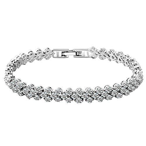 NIMUIL Tennis Armband Damen Kristall Armbänder weißgold Vergoldet mit Cubic Zirkonia Steinchen Besetzt in Silber Schmuck