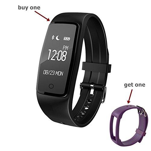 chinatmax S1Smart pulsera, deporte podómetro reloj con Real dinámica ritmo cardíaco FITNESS actividad Tracker recordatorio de llamada entrante calorías y seguimiento del sueño para ios iphone y Android Samsung teléfonos, pantalla de 0.96 inches, color Black with Purple Band