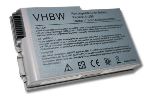 vhbw Li-Ion Akku 4400mAh (11.1V) für Notebook Laptop Dell Latitude D500, D505, D510, D520, D600, D610 wie 0X217, 1X793, 310-4482, 310-5195, 312-0068.