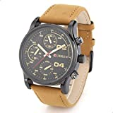 Curren Men's Black Dile Leather Strap Watch 8207