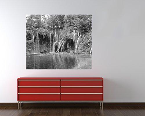"""Preisvergleich Produktbild Bilderdepot24 Vlies Fototapete """"einsamer Wasserfall - schwarz weiss"""" 155x130 cm - direkt vom Hersteller, inklusive Kleister"""