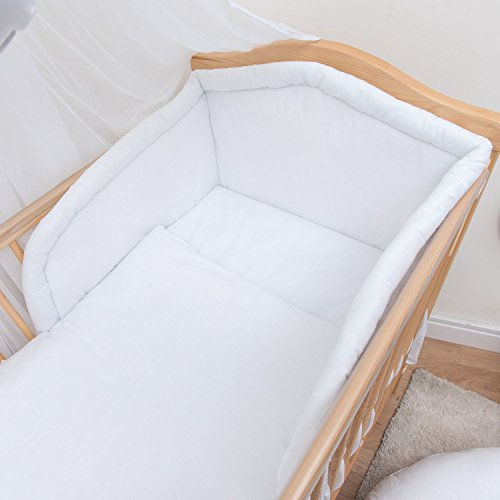 5-teiliges Baby Bettwäsche Set 120x60cm mit dickem Kinderbett Schutz - Weiß - Weiße Stoßstange Kinderbett Bettwäsche