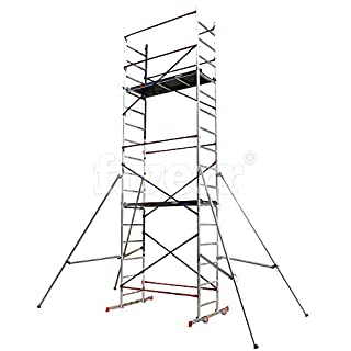 Aluminium Scaffold/Scaffolding Tower/Towers DIY Home Master 6m Working Height Massive 150kg Duty Rating with Free Colour Coded Braces and Fully Welded Frames - Brand New UK Design