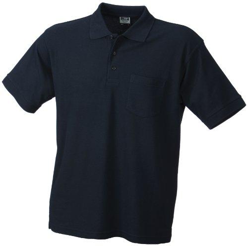 James & Nicholson Herren Polo-Pique-Pocket Poloshirt, Blau (Navy), Large -