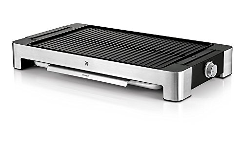 WMF LONO Tischgrill gerippt, 2000 W, 27 x 41 cm, variable Temperatureinstellung, cromargan matt/silber