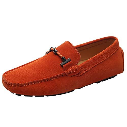 Jamron uomo elegante fibbia mocassini comfort scamosciato scarpe di guida moda pantofole arancio sn19020 eu40