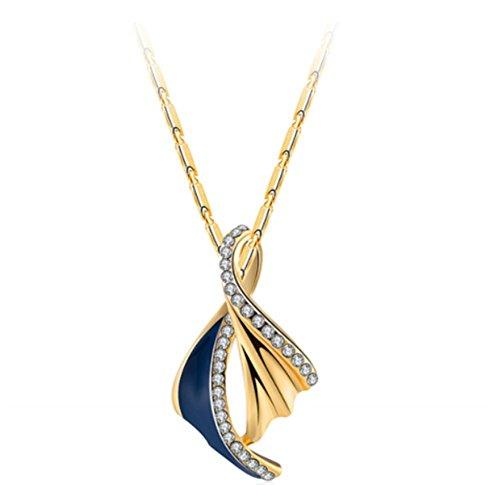 Bling Jewelry donna placcato oro 18ct oil Drop Feather collana con ciondolo a forma di, Oro giallo, colore: Black, cod. 2030546180