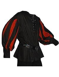 Mittelalter Landsknechthemd schwarz, Einsätze in rot, Größen XS - XXXL
