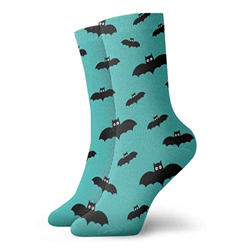 e auf blaugrünem Blau & # x7984; Halloween Socken Atmungsaktive Damen Herren bedruckte Baumwolle Flachstrick Crew Sport Athletic Socken 30cm ()