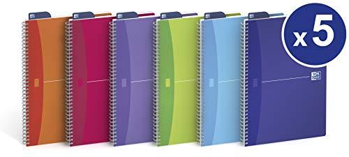 Oxford Lila (OXFORD Spiralbuch My Colours 5er Pack mit 4 Farben A5 kariert 90 Blatt transluzenter PP-Deckel Schreibblock Notizblock Collegeblock)