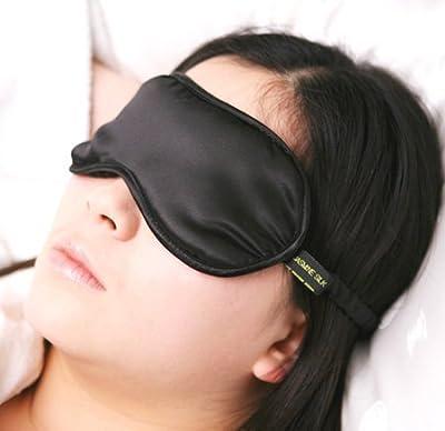 Jasmine Silk 100% Pure Silk Filled Eye Mask / Sleeping Mask Sleep Mask - BLACK