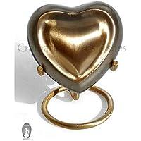 Pequeño peltre esmaltado Interior de corazón para cenizas crematorias