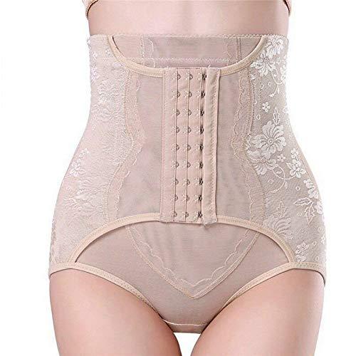 CNKM Frauen Hohe Taille Shaper Hosen Spitze Floral Bauch Kontrolle Gürtel Panty Body Trainer Shaper Hintern, Khaki, S -