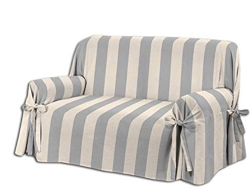 Centesimo web shop copridivano laccetti in 3 misure e 4 colori tessuto jacquard righe rigato strisce - due posti grigio