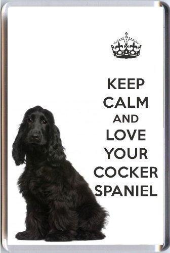 Imán nevera imagen Cocker Spaniel negro frase Keep