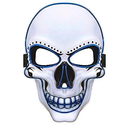 Einfache Halloween Kostüm - Charlemain LED Maske weiß,Totenkopfmaske,harmlose Halloween Maske mit 3 Blitzmodi für Halloween, Fasching, Karneval, Party, Kostüm Cosplay, Dekoration