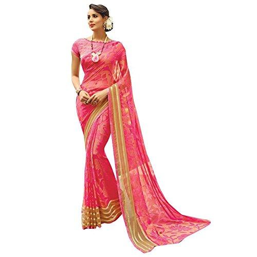 Shaily Retails Women's Peach Brasso Printed sarees (SPRKLE22101SSSR1_Peach)