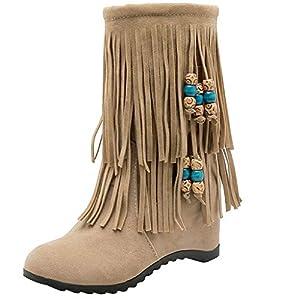 Toasye Damenmode Kurze Stiefel Damenstiefel mit Fransen Ankle Boots Flache Stiefeletten Stiefel mit Fransen Schlupfstiefel Einfach Freizeit Winter Schuhe