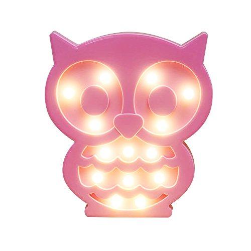 REKYO Laufschrift LED Nachtlicht, niedlichen LED-Lampen an Wand, Raum dekoratives Licht, Tisch Lampe Stimmung Beleuchtung Lampe Kinder Zimmer Weihnachten Deko (Eule) (Wand Lampe Kinder)