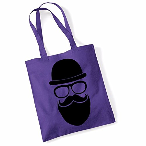 Bowler Hipster Printed Beach Tote Bag - Purple