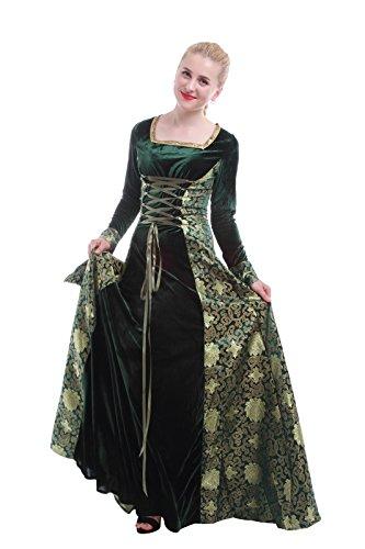 Damen Mittelalterliche Königin Maxi Kleid Halloween Party Kostüm