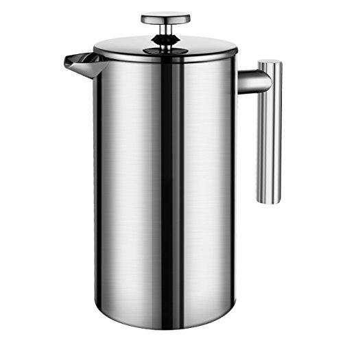 Honsdom Kaffeebereiter mit Edelstahlfilter, Kaffeekanne, French Press System mit Zweilagiger Edelstahl Konstruktion - 350mL