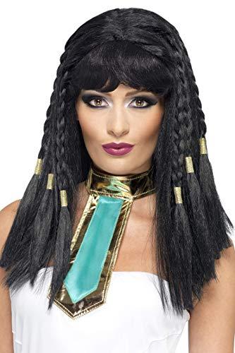 Smiffys Damen Geflochtene Perücke mit Pony, Perücke mit Goldverzierung, Kleopatra Perücke, Schwarz, One Size, 42081 (Ägyptische Kostüm Perücke)