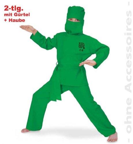Green Ninja Gruen 140 2tlg mit Gürtel und Haube (Spion-anzug Kinder Für)