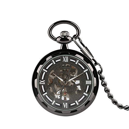 Aruie Taschenuhr, offen, schwarz, römische Ziffer, Skelett, mechanisch, ohne Deckel, Vintage, Kette für Herren und Damen