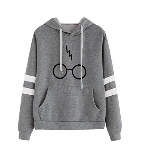 Damen Langarm Rundhals Kapuzenpullover Gläser Druck Hoodie Tasche Sweatshirt Pullover mit Kapuzen (Grau, S)