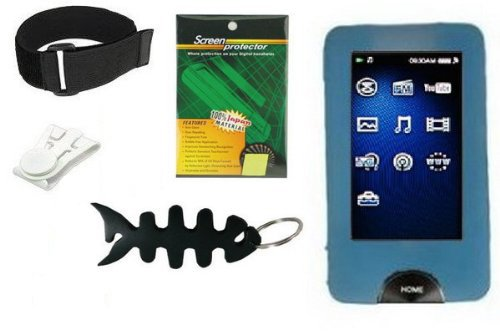 Premium Accessory Bundle Combo For Sony Walkman Series X NWZ-X1050 / NWZ-X1051 / NWZ-X1060 / NWZ-X1061 Series Combo Pack Includes: Blue Silicone Skin Case + Screen Protector + Armband + Belt Clip and Fishbone style Keychain  available at amazon for Rs.2122