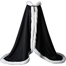 FNKSCRAFT® Femme longue princesse cape de mariage Manteaux Avec capuche chaud hiver fourrure mariée Manteau Halloween Cape à Capuche