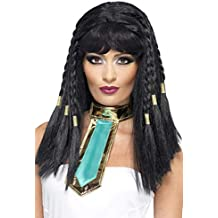 SmiffyS 42081 Smiffys Peluca de Cleopatra con Trenzas con Borde Dorado, Negro