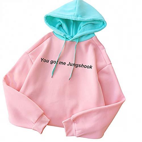 ZJSWCP Sweat-Shirt Sweatshirt Garçons Femmes Vous m'avez EU Jungshook Lettre Imprimé Hoodies Style Coréen Casual Polaire Splicing Pulls,XL