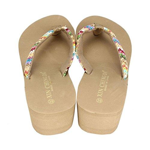 Donne Sandali infradito,Saingace donne di estate Colorful sandali della piattaforma del cuneo Beach piatto di patch Infradito Lady pantofole cachi
